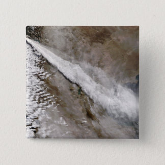 Plume von der Eruption von Chaiten Vulkan, Chile Quadratischer Button 5,1 Cm
