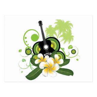 Plumeria-Blumen und -gitarre Postkarte