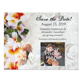 Plumeria-Orchideen-Leu im Sand-Foto Save the Date 10,8 X 14 Cm Einladungskarte