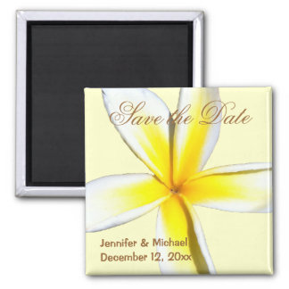 Plumeria Save the Date Quadratischer Magnet
