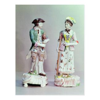 Plymouth-Porzellan Schäfer und Shepherdess Postkarte