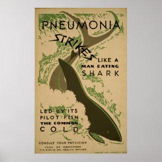 Pneumonie-Streiks wie ein Fleisch fressender Poster