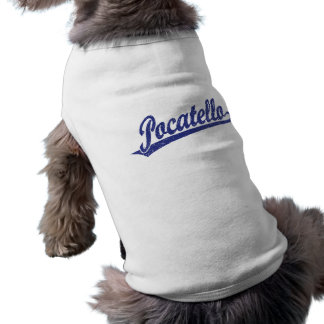 Pocatello Skriptlogo im Blau beunruhigt T-Shirt