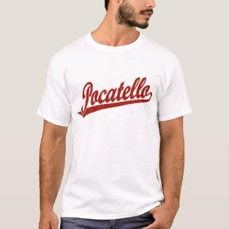 Pocatello Skriptlogo im Rot beunruhigt T-Shirt