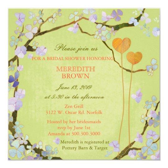 Poetisches zwei Herz-Frühlings-Brautparty Quadratische 13,3 Cm Einladungskarte