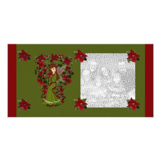 Poinsettia-glückliche Weihnachten-Feen-Foto-Karte Fotogrußkarten