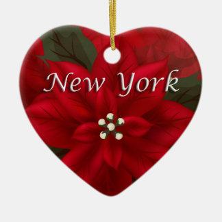 Poinsettia-Herz-Andenken-Verzierung New York rote Weinachtsornamente