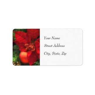 Poinsettia-Schönheits-Adressen-Etikett Adressaufkleber