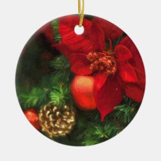 Poinsettia-Schönheits-Verzierung Rundes Keramik Ornament