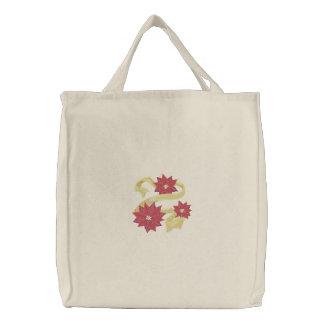 Poinsettia-Trio Bestickte Tasche