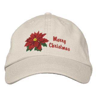 Poinsettia-Weihnachten Bestickte Baseballcaps