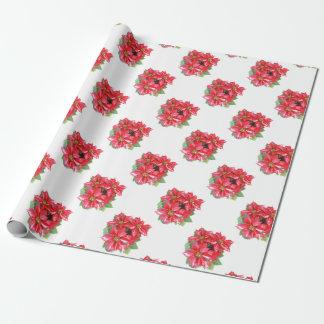 Poinsettia-Weihnachtsstern transparentes png Geschenkpapier