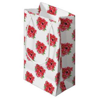 Poinsettia-Weihnachtsstern transparentes png Kleine Geschenktüte