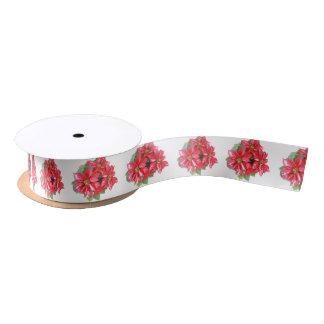 Poinsettia-Weihnachtsstern transparentes png Satinband
