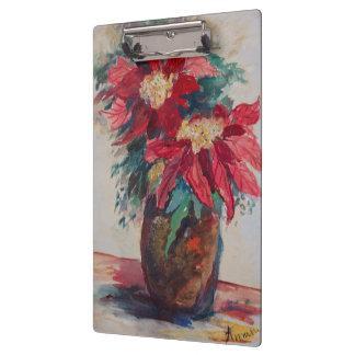 Poinsettias in a Brown Vase