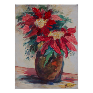 Poinsettias in einem Brown-Vase Poster