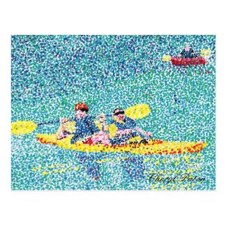Pointillismkajakszene auf dem Fluss Postkarte