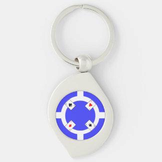 Poker-Chip - Blau Schlüsselanhänger