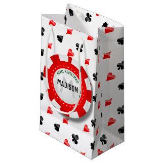 Poker-Chip des Spielers mit Monogramm Weihnachts Kleine Geschenktüte