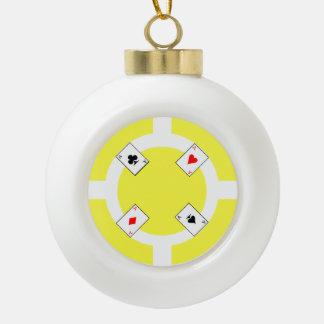 Poker-Chip - Gelb Keramik Kugel-Ornament