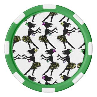 Poker-Chip Hula Tänzer-Tanz-polynesisches Poker Chips Set