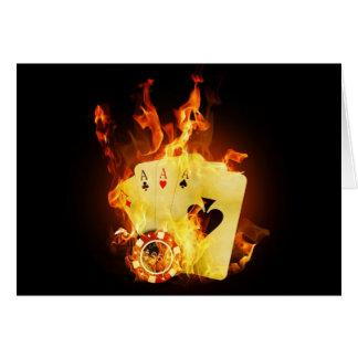 Poker-Chip-Karten auf Feuer Grußkarte