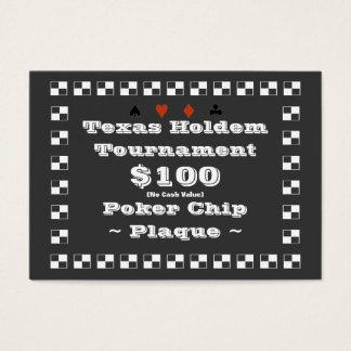 Poker-Chip-Plakette $100 (100ct) Texas Holdem Visitenkarte
