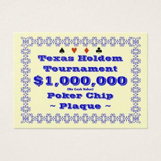 Poker-Chip-Plakette $1M (100ct) Texas Holdem Visitenkarte
