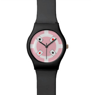 Poker-Chip - Rosa Armbanduhr