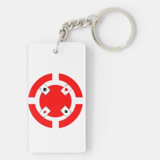 Poker-Chip - Rot Schlüsselanhänger