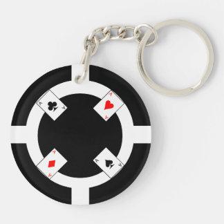 Poker-Chip - Schwarzes Schlüsselanhänger