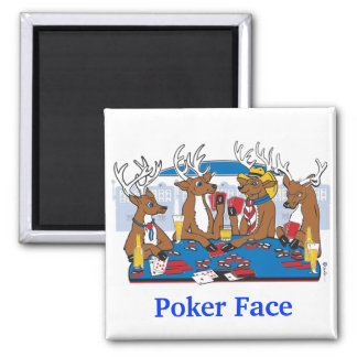 Poker-Gesichts-Rotwild Quadratischer Magnet