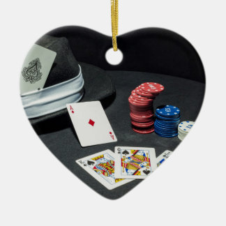Poker kardiert Gangsterhut Keramik Herz-Ornament