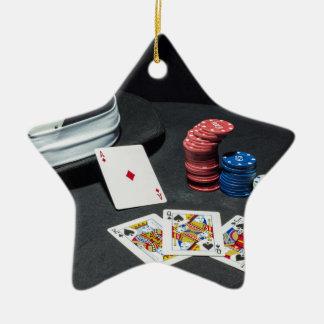 Poker kardiert Gangsterhut Keramik Stern-Ornament