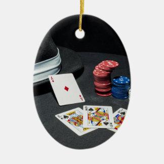 Poker kardiert Gangsterhut Ovales Keramik Ornament