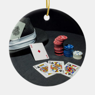 Poker kardiert Gangsterhut Rundes Keramik Ornament