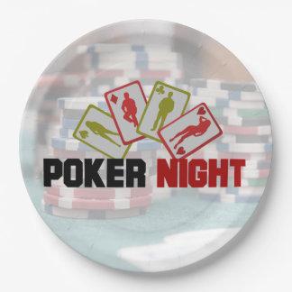 Poker-Nacht mit Spielkarten und Poker-Chips Pappteller