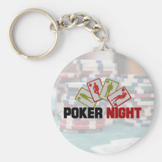 Poker-Nacht mit Spielkarten und Poker-Chips Schlüsselanhänger