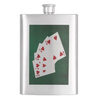 Poker übergibt - gerades Erröten - Herz-Anzug Flachmann