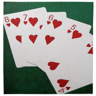 Poker übergibt - gerades Erröten - Herz-Anzug Serviette