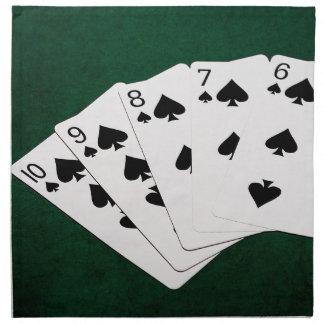 Poker übergibt - gerades Erröten - Spaten-Anzug Stoffserviette