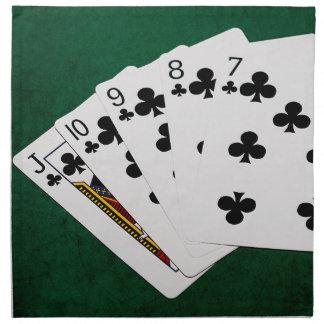 Poker übergibt - gerades Erröten - Verein-Anzug Stoffserviette
