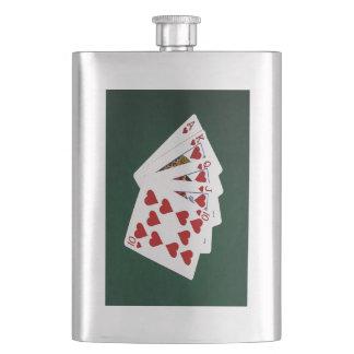 Poker übergibt - königliches Erröten - Herz-Anzug Flachmann