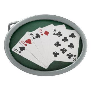 Poker übergibt - vier einer Art - Fives und acht Ovale Gürtelschnalle