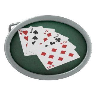 Poker übergibt - vier einer Art - Nines und acht Ovale Gürtelschnalle