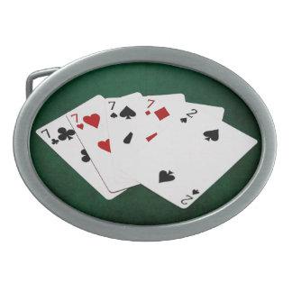 Poker übergibt - vier einer Art - Sevens und zwei Ovale Gürtelschnalle