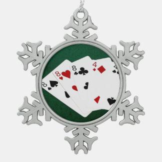 Poker übergibt - volles Haus - acht und vier Schneeflocken Zinn-Ornament