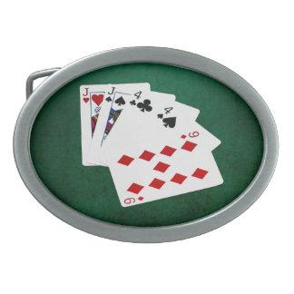 Poker übergibt - zwei Paare - Jack, vier Ovale Gürtelschnalle