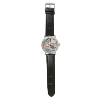 """""""Poker-"""" Vintage lederne Uhr"""