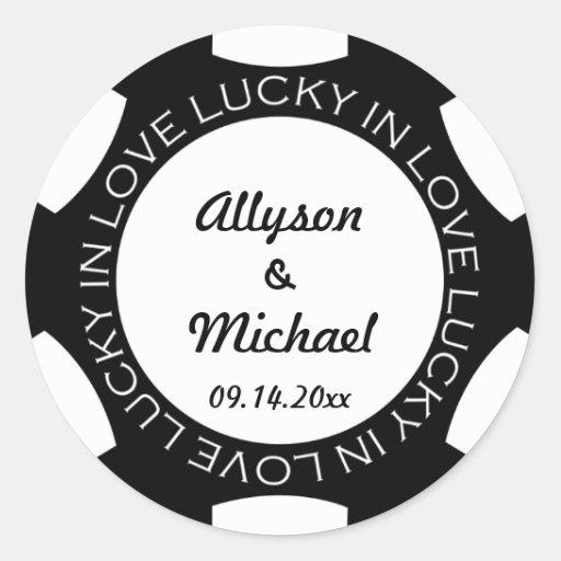 Pokerchip glücklich im Liebe-Gastgeschenk Hochzeit Runder Aufkleber